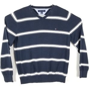 Tommy Hilfiger Blue V-Neck Striped Sweater Sz LG